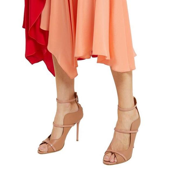 Peep Toe Cover Heel Sandals Shallow Elastic Strap Women Pumps Plus Size 10.5 Rome Style Latest Party Shoes