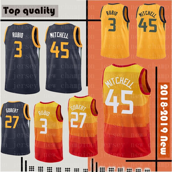 finest selection 449d6 06b88 2018 Jazz 45 Donovan Mitchell 3 Ricky Rubio Jersey Men'S 12 John Stockton  32 Karl Malone 2 Joe Ingles 27 Rudy Gobert Basketball Jerseys From ...