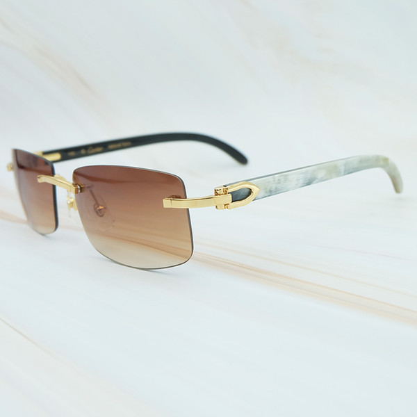 Nature Buffs Horn <b>Sunglasses</b> Men 2018 Trend Fashion <b>Rectangle</b> ...