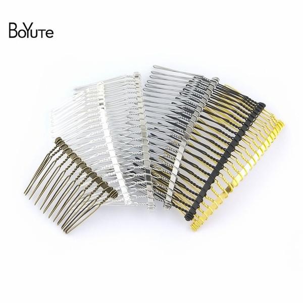 BoYuTe 10Pcs Vintage Hand Made Diy Wire Comb Metal Hair Comb Base 6 Colors Plated Women's Diy Hair Jewelry Accessories Black Gun/Black/Glod