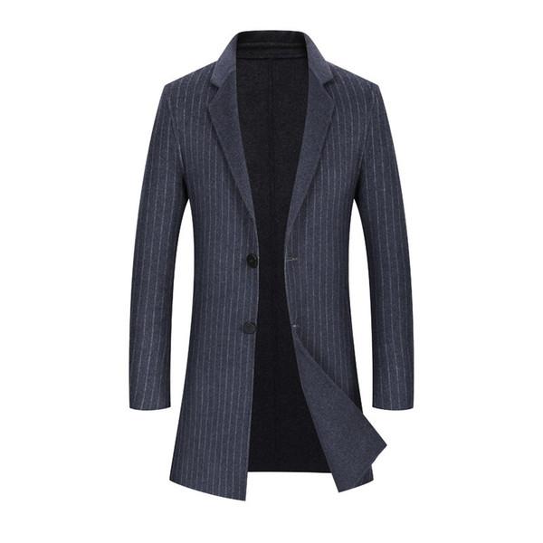 Men's Dress 2018 New Arrival Mens Woolen Coats Double Faced Long Windbreakers Male Winter Wool Jackets for Business Men