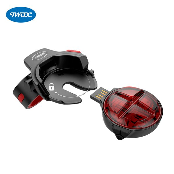 TWOOC 2018 NEW Waterproof Bicycle Brake Rear Light USB Rechargeable LED MTB Bike Tail Light Cycling Safety Taillight Back Lamp
