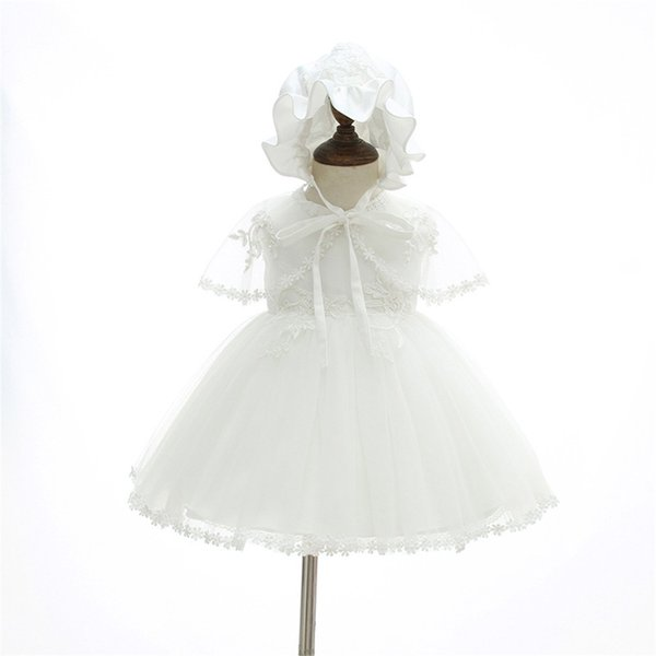 Baby Girl Christening Baptism Party Wedding Dress 3Pcs Outfits with Bonnet