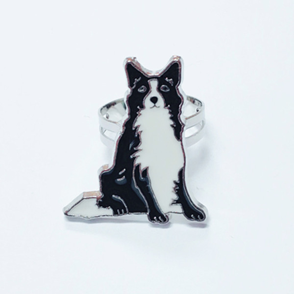 Border Collie anillos para las mujeres de los hombres de color plata aleación de zinc abierta ajustable para mujer perro anillo de joyería de moda con caja de regalo