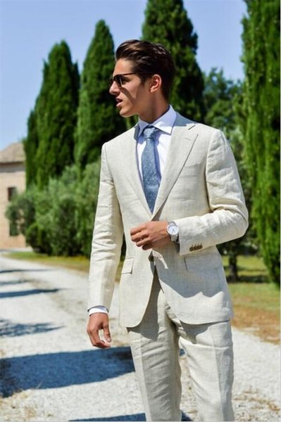 Tailor Made Linen Beige Men Suits Slim Fit Groom Prom Dress Blazer Casual Beach Summer Style 2 Piece Tuxedo Jacket+Pant Ternos