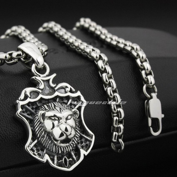 LINSION Guardian King Lion 925 Sterling Silver Mens Biker Pendant 8N008 Stainless Steel Necklace 24 inches