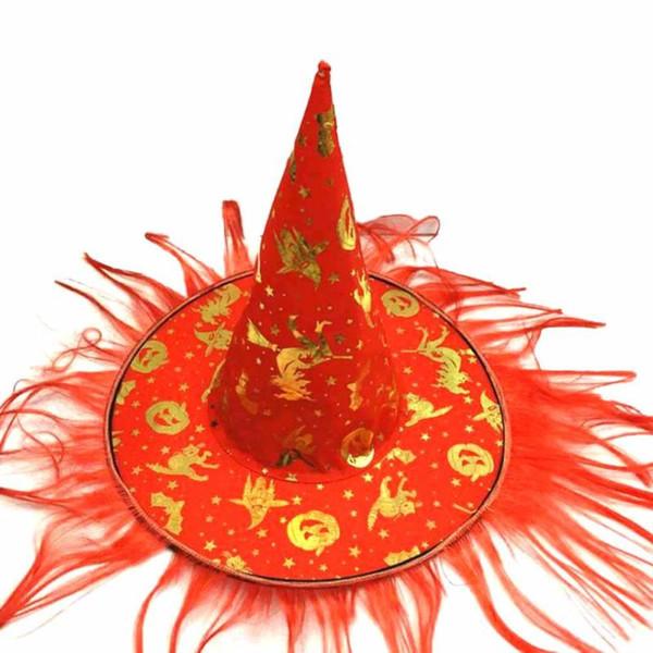 RED OMBRE Hut Hexen Hut Kostüm Party Kostüm Kappe Party Kostüm Zubehör Caps Perücke Hexenhut Halloween Kostüme für Erwachsene lustige Bein