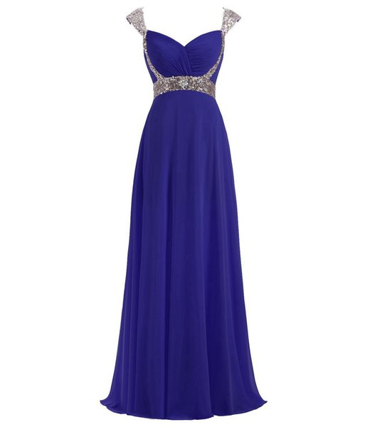 New Arrival Sexy Fashion Long Prom Dresses Crystal Beaded Chiffon Pageant Dresses Cap Sleeve Evening Dresses Party Gown