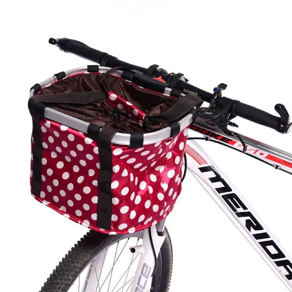 Folding Bicycle Basket High-grade Aluminum Alloy Frame Removable Bicycle Cycling Front Carrier Bag Pet Carrier Mountain Bike