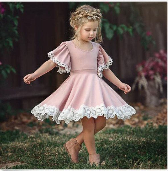 New Baby Girl Summer Dress Children Pink Lace Princess Dress Kids Fashion Lace Elasticity Flower Frocks Free Shipping