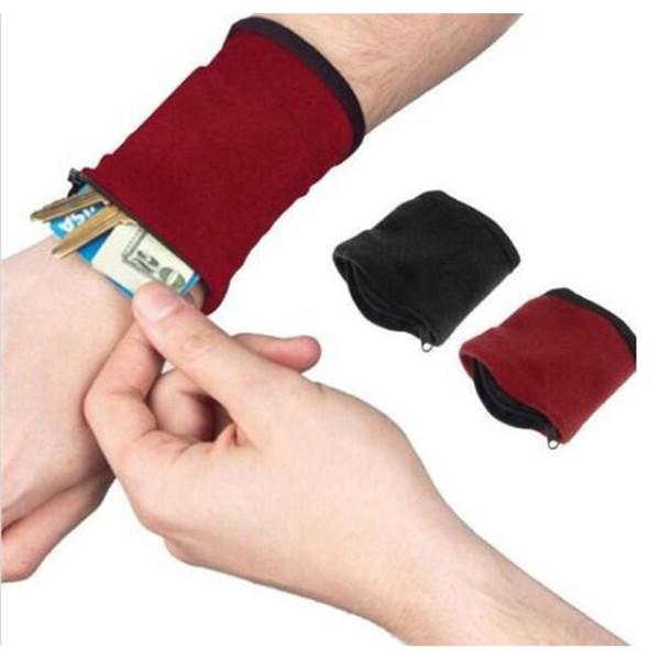 Zipper Wrist Wallet Pouch Wristbands Running Travel Gym Cycling sweatband Sport Wallet Hiking Wrist bag Support Wrist Bands Grip Glove