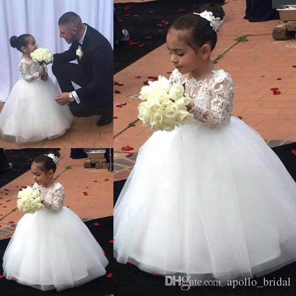 Custom Made Flower Girl Dresses for Wedding Ivory Princess Tutu Long Sleeves Lace Zipper Tulle Vintage Child First Communion Dress