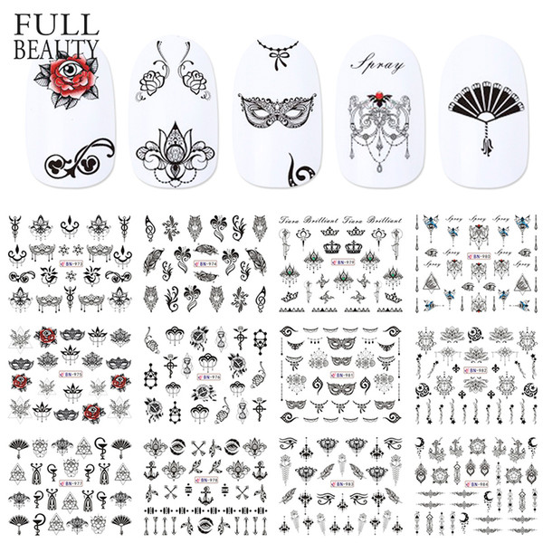 12pcs Water Decals Nail Black Necklace Rose Mask Feather Halloween Valentine for Nail Art Manicure Tool Sticker Tips CHBN973-984