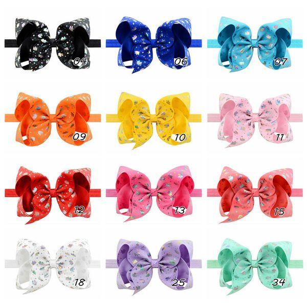 16pcs 6 inch Elegant Unicorn Print Bows Tie Headbands For Kids Girl Colorful Elastic Hairband Hair Accessories FD843