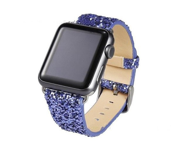 For Apple Watch Replacement Glitter Leather Bands Lilly 38mm 42mm Watch Band Straps Fashion Watchband for women girl men 60pcs DHL