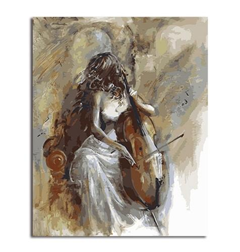 Beauty Lady and Cello,Hand-painted Impressionist Portrait Art oil painting High Quality Wall Art Home Deco On Canvas Free Shipping p410