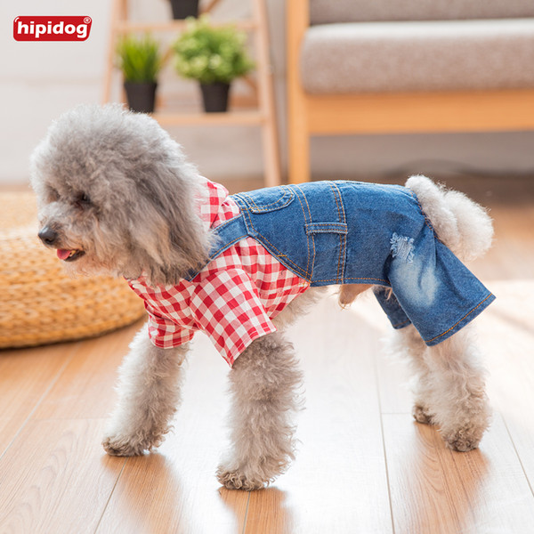 Hipidog New Design Pet Dog Cat Fashion Jumpsuit Spring Summer Rompers Plaid T-Shirt Jeans Strap Pants For Small Dog Chihuahua