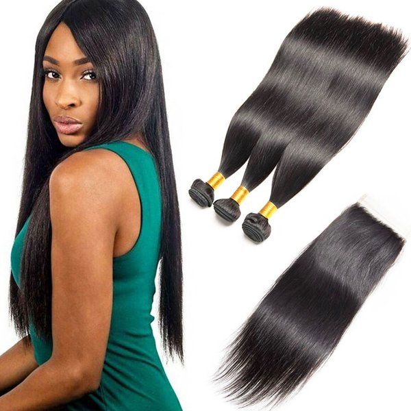 Brasilianisches reines Haar Bundles mit Verschlüssen Gerade Remy Menschenhaarverlängerungen 3 Stücke viel unverarbeitetes 7a Grade Cheap Hair Sale