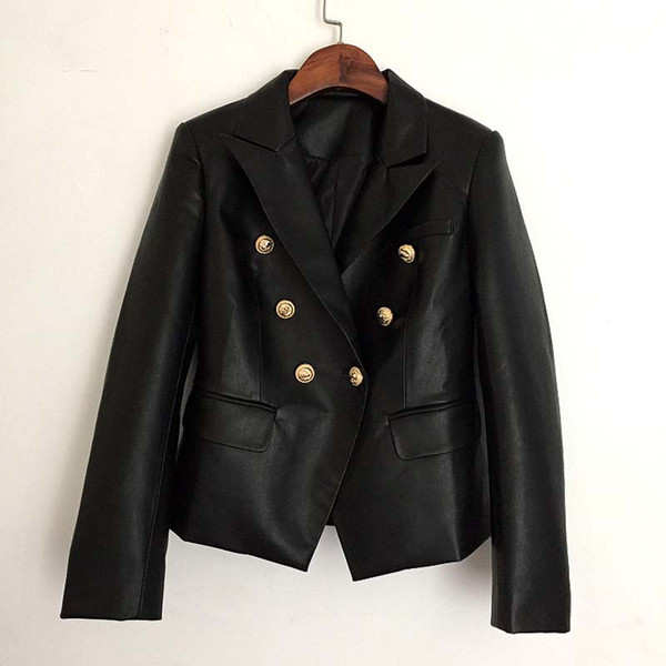 Autumn Winter 2018 Runway Designer Black Jacket Women Lion Metal Buttons Double Breasted Synthetic Leather Outer coat Clothes