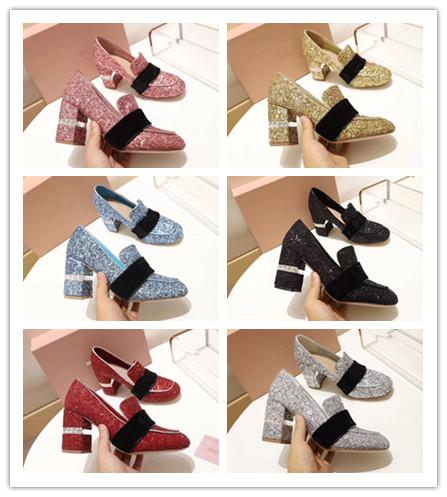 Top Quality Dress Pumps Women Spring Autumn Black Chunky Heels Med Shoes Ladies Fashion shining Brand Shoes with box