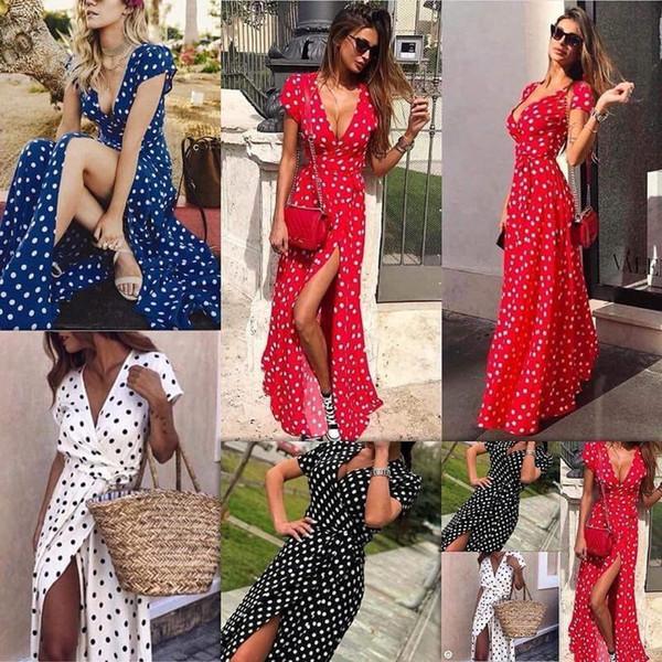 2018 Summer Dress Women Polka Dot Deep V Neck Short Sleeve Split Party Beach Maxi Long Dress Vestido Sundress Plus Size