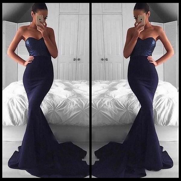 Sexy azul marino Bling Bling lentejuelas top sirena vestidos de noche 2018 Backless Sweetheart Sweep tren vestidos de fiesta Juniors vestidos de baile