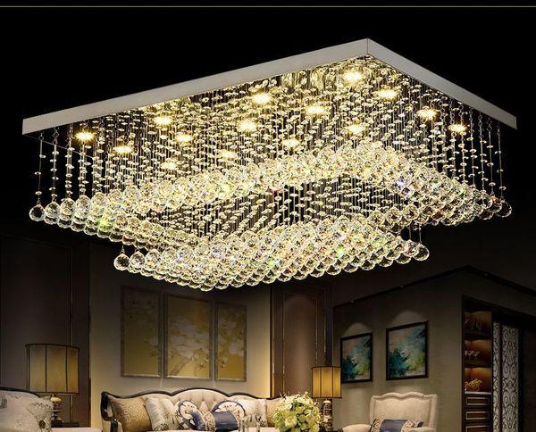 Candelabros de cristal remotos contemporáneos modernos del LED con las luces LED para el accesorio de iluminación rectangular del techo del soporte rasante de la sala de estar