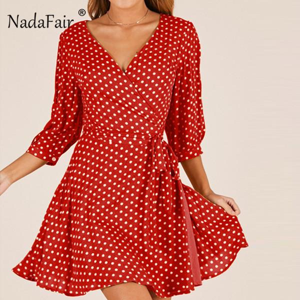 Nadafair V Neck Dot Chiffon Dress Women A-Line Mini Dress Three Quarter Sleeve Bohemian Mini Beach Sundress For Female