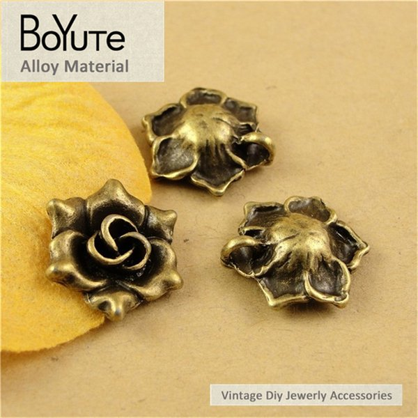 BoYuTe (60 Pieces /lot) 17*6.3MM Antique Bronze Plated Zinc Alloy Charms Rose Vintage Style Diy Pendant for Jewelry Making Accessories