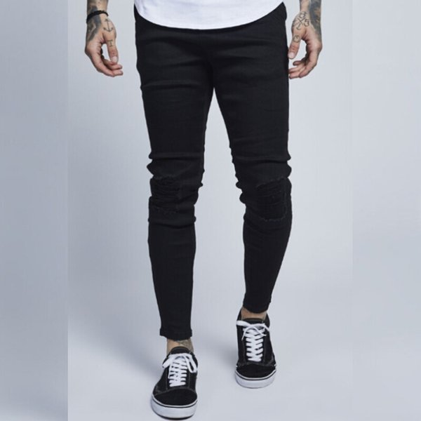 Skinny Biker Ripped Jeans 2018 Fashion Destroyed Hole Designed Pencil Pants Slim Fit Denim Pants Long Trousers For Men