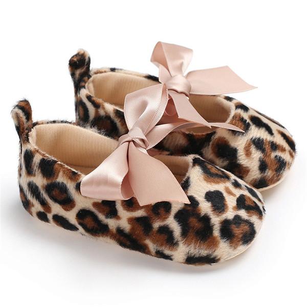 Toddler Cute Girl Leopard Print Tie Soft neonato antiscivolo Baby Shoes Prima Walker A84L073