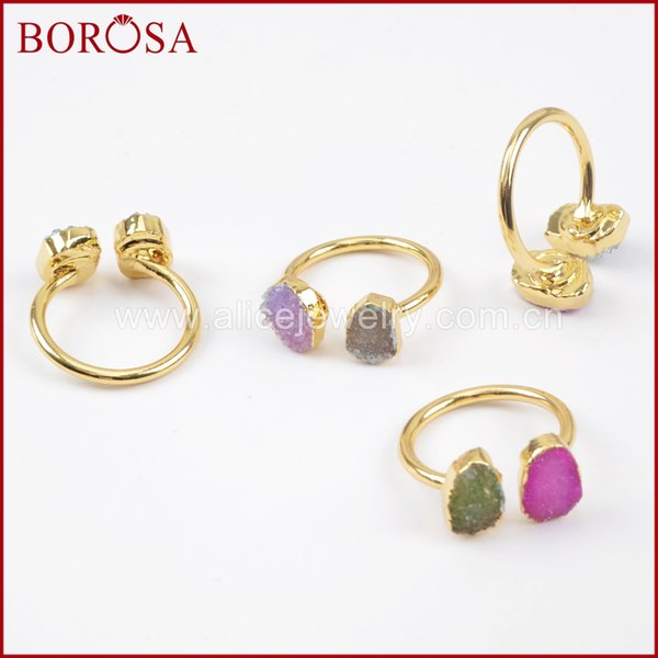 BOROSA Wholesale Double Druzy Rings for Women, Fashion Gold Color Double Rainbow Drusy Ring Gems Jewelry for Women G1449