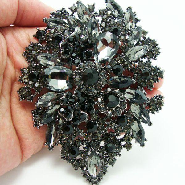 Romántico negro Broche Art Of Rhinestone Plum Flower Group Crystal Broches Pin colgante
