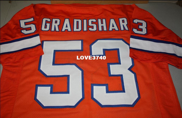 top popular Men Randy Gradishar #53 Orange Sewn Stitched RETRO JERSEY Full embroidery Jersey Size S-4XL or custom any name or number jersey 2019