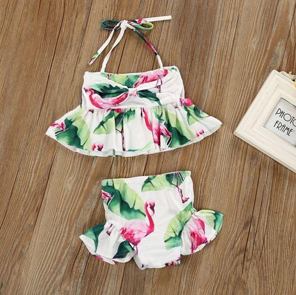 New brand newborn baby toddler infant child kids baby girls flamingo swimwear swimsuit bikini 2pcs/set bathing suit costume 1-6T