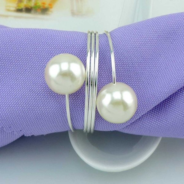 5pcs/ lot Hotel soft outfit metal table napkin ring napkin buckle ring buckle pearl seats