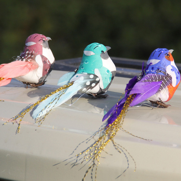 10*4*5cm 12pcs/lot 6 colors decorative fake foam feather bird artificial ornamental birds for home decor christmas wedding g610s