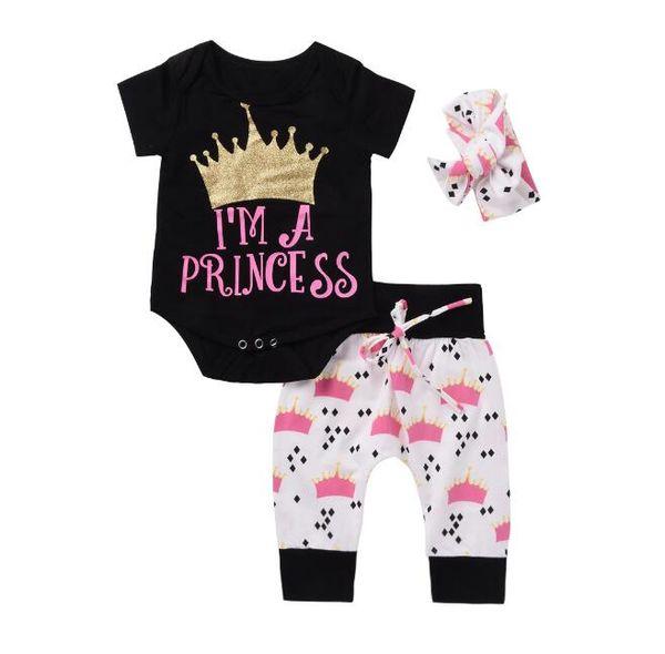 1set Infant Baby Girls Clothing Set 3pcs Crown Letter Print Romper Pants Trousers Suits Newborn Size 12 18 Months