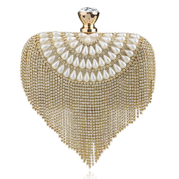 2018 Newest tassel crystal women bag luxury imitation pearl evening bags wedding beaded day clutches small purse bag