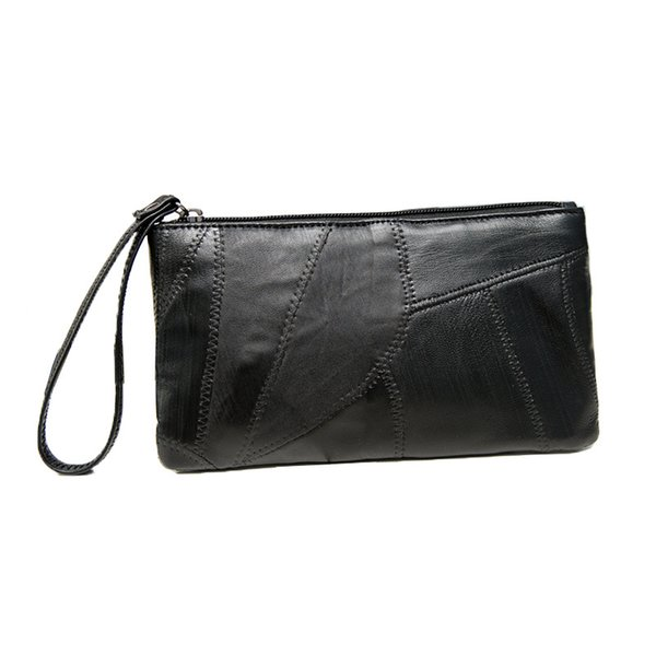 Sheepskin clutch bag female new coin purse stitching leather small handbag ultra-thin mobile phone bag Vintage Women Long Wallet