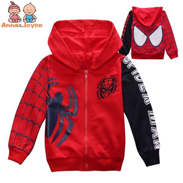 1 Pc Children 's Cotton Zipper Hooded Jacket Spiderman Embroidered Jacket ATST0281