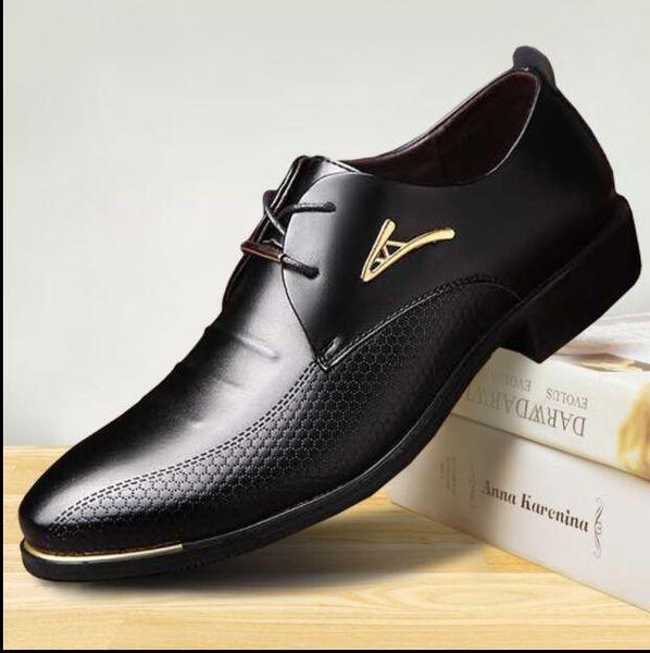 Luxur Classic Man Spitzschuh Kleid Schuhe Herren Lackleder Schwarz Hochzeitsschuhe Oxford Formelle Schuhe Große Größe mode