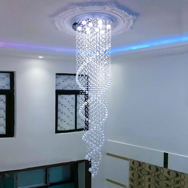 Double staircase chandelier hollow staircase lamp long chandelier corridor spiral lamp villa floor middle floor rotating crystal lamp