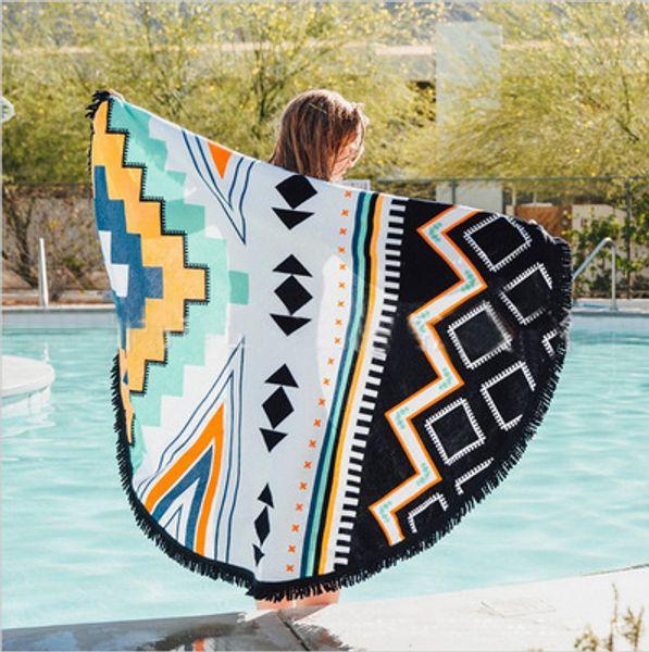 top popular cheap promotional custom logo 100%polyester round beach towel mandala 2021