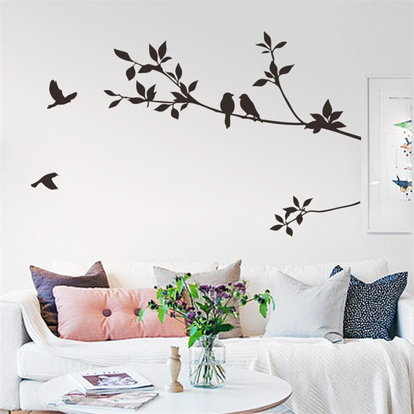 flying black bird tree branch vinyl wall stickers bedroom decoration 8171. removable diy home decals animal mural art 3.5haif