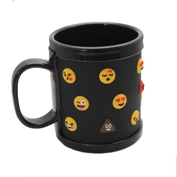 Cartoon Cute Coffee Mugs 3D Emoji Crazy Face PVC Cup Heat Insulation Anti Skid Round Tumbler Black White 10ct BB