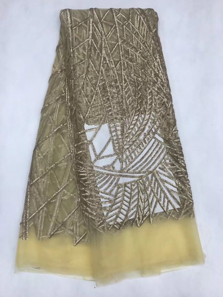 FLY1015 Free shipping 5 yards high quality African mesh lace fabric with sequins in gold color for making beautiful bridal gown!