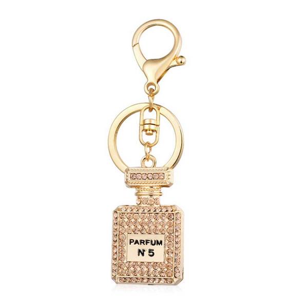 PARFUM N5 KeyChain Alta calidad 3 color botella de perfume rhinestone lleno llavero mujer bolsa colgando adornos