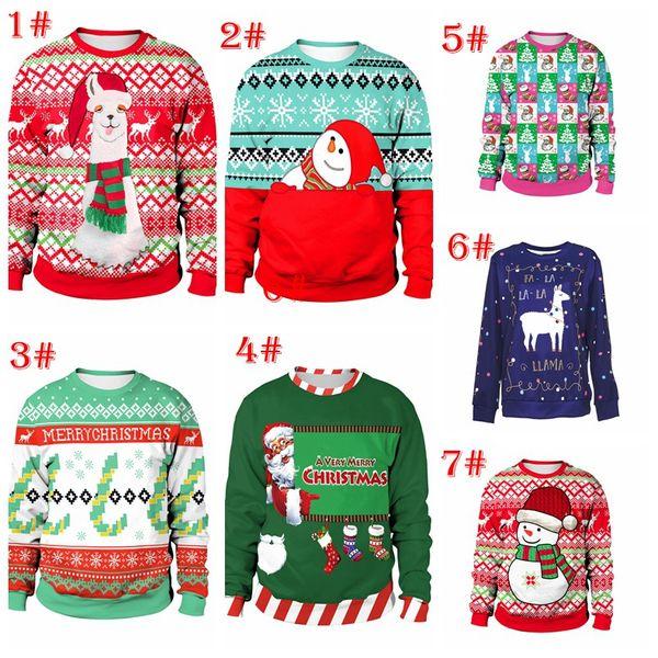 11 estilos New Christmas Elk Avatar Imprimir T-Shirt de Manga Longa Mulheres Moda Camisola Cor Roupas para Mulheres Grandes Meninas Top