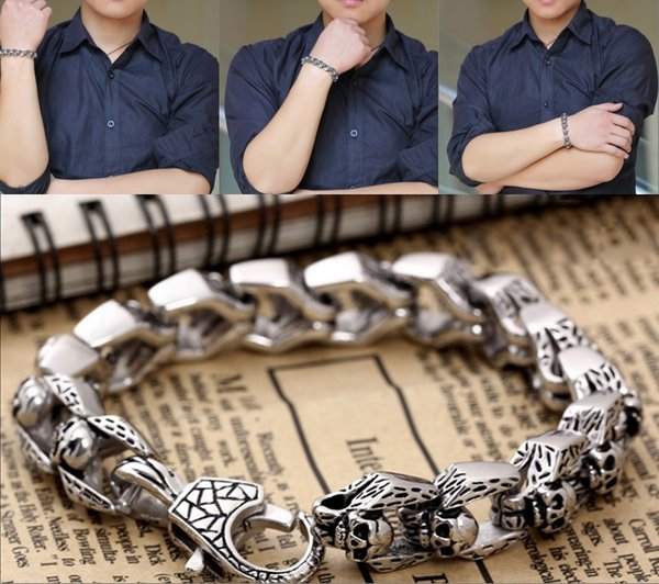 "Stainless Steel Gold Plated Bracelet Cuban Curb Link Chain Bracelet Men'S Cuff Wristband Jewelry Length 8.6"" Mens Best Gifts Free DHL G835R"